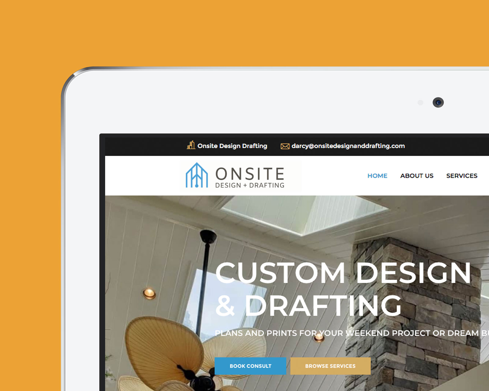 onsite design and drafting website homepage on laptop