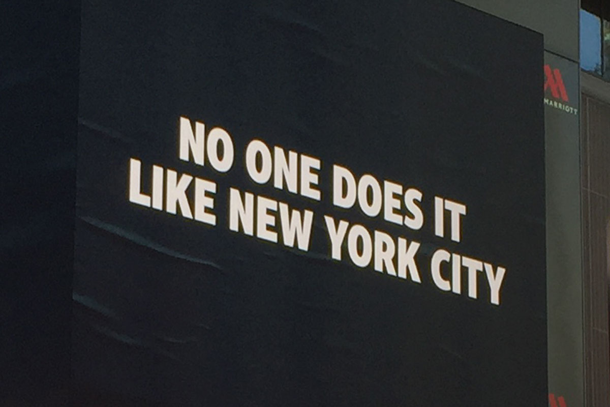 times square billboard: no one does it like new york city